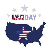 Tarjeta del feliz día de los caídos con la bandera y el mapa de Estados Unidos