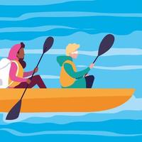 pareja joven, en, canoa, deporte, extremo vector