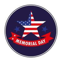 feliz día conmemorativo con estrella y bandera de estados unidos