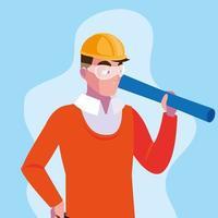 avatar, caricatura, ingeniero, hombre vector