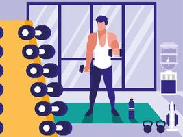Young man lifting dumbbells in gym vector
