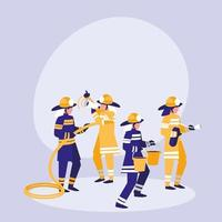 Group of firefighters avatar character vector
