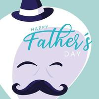 Happy father day card with gentleman face vector