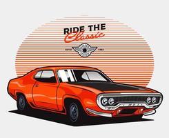 coche clásico naranja vector