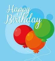 Happy birthday card with helium balloons  vector