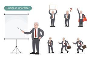 Older business man at work set vector