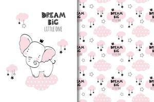 Dream big baby elephant and clouds drawing and pattern
