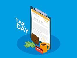día de impuestos con portapapeles e iconos de negocios vector