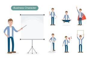 Casual business man at work set vector