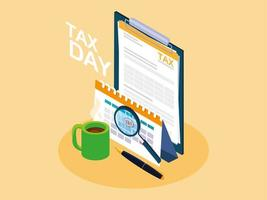tax day with clipboard and business icons vector