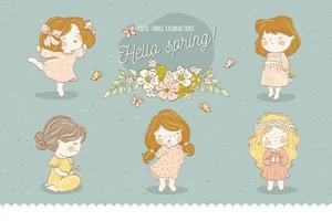 Cute baby girl cartoon characters spring collection vector