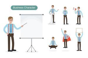 Business man wearing suspenders at work set vector
