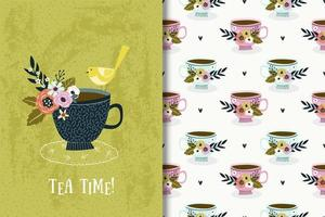 Tea cup with bird and flowers drawing and pattern