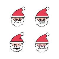 Set of Santa Claus faces vector