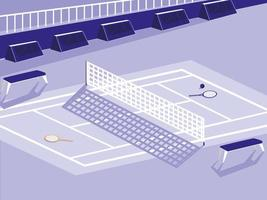 Tennis sport court scene vector