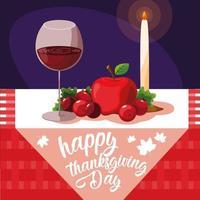 Thanksgiving food in elegant table vector