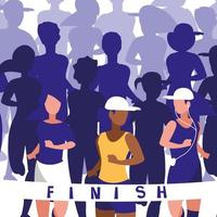Female athletics race avatar character vector