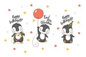 Cute birthday cartoon penguins character collection vector