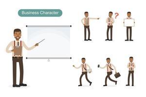 Business man at work set vector