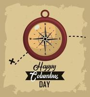 Columbus day greeting card with compass