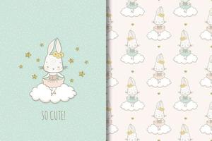 Rabbit ballerina on cloud drawing and pattern vector
