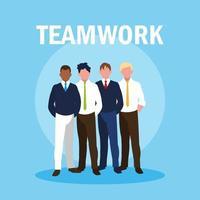 trabajo en equipo con hombres de negocios elegantes vector