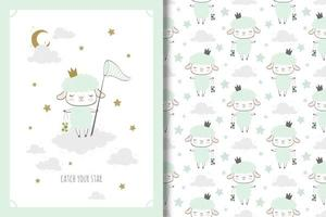 Sheep princess with butterfly net drawing and pattern
