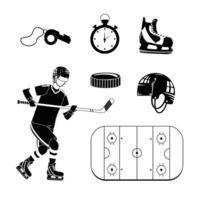 Set of hockey silhouette icons