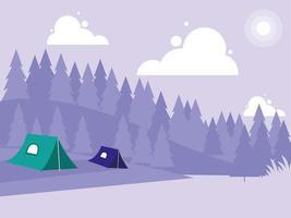 paisaje creativo con montañas y tiendas de campaña.