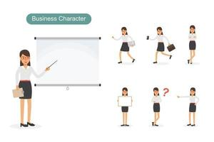 Dark haired business woman at work set vector