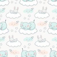 Cartoon cute animal seamless background pattern. Elephant and rabbit sleeping on the cloud among stars and clouds in the night sky.  vector