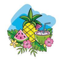 frutas tropicais e folhagens