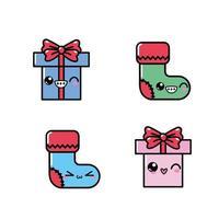 conjunto de iconos de navidad kawaii