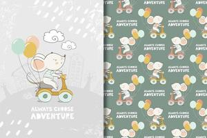 Baby mouse on scooter with balloons drawing and pattern vector