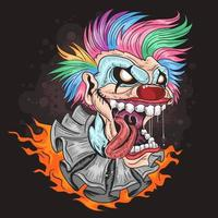 Laughing clown with rainbow colored hair and fire