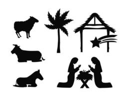la natividad de jesús silueta conjunto de iconos vector