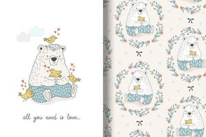 Cute bear sitting with lovely birds drawing and pattern