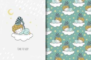 Boy in pajamas sleeping on cloud drawing and pattern