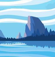 paisaje con icono de escena del lago