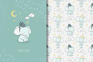 Baby elephant time to sleep drawing and pattern