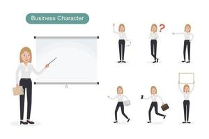 Blonde haired business woman at work set vector