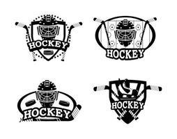Set of hockey silhouette emblem icons