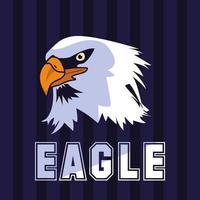 cabeza de pájaro águila calva con palabra