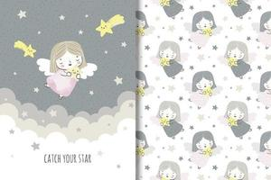 Little angel with shooting stars pattern and drawing vector