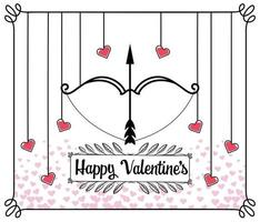 Valentines day greeting card with arrow and bow vector