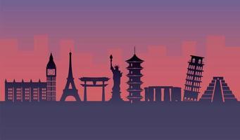 Touristic attractions silhouette design vector