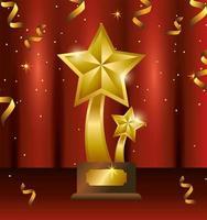 Diseño de plantilla de celebración de premio con trofeo de estrellas