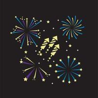 Night fireworks icon set