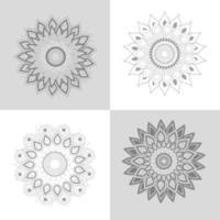 Set of mandala flowers ornament decoration vector