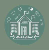 Back to school design with building and icons vector